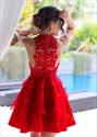 Lovely Red Knee Length Sleeveless Homecoming Dress With Lace Bodice