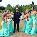 Turquoise Spaghetti Strap Lace Bodice Mermaid Long Bridesmaid Dress