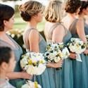 Simple Sleeveless V-Neck A-Line Floor Length Tulle Bridesmaid Dress