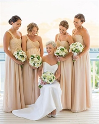 Champagne One Shoulder Ruched Chiffon Floor Length Bridesmaid Dress