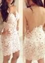 White Sleeveless Short Sheath Lace Homecoming Dress With Sheer Back