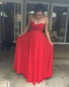 Red Strapless Sweetheart Floor Length A-Line Chiffon Bridesmaid Dress
