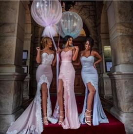Elegant Strapless Lace Embellished Mermaid High Low Bridesmaid Dress