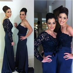 One Shoulder Lace Embellished Royal Blue Chiffon Long Bridesmaid Dress