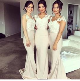 Elegant Cap Sleeve Lace Bodice Floor Length Mermaid Bridesmaid Dress