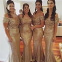 Champagne Off The Shoulder Ruched Sequin Mermaid Long Bridesmaid Dress