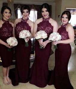 Elegant Burgundy Halter Lace Top Satin Sheath Mermaid Bridesmaid Dress