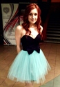 Two Tone Strapless Sweetheart Tulle Skirt Homecoming Dress With Bow