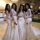 Two Piece Sheer Long Sleeve High-Neck Lace Top Mermaid Bridesmaid Gown