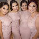 Pink Sleeveless Floor Length Mermaid Bridesmaid Dress With Lace Beaded