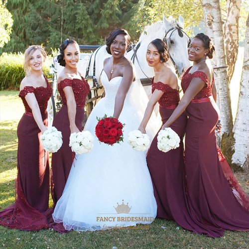 Burgundy Off Shoulder Bridesmaid Dress With Lace And Beads Embellished