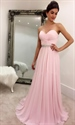 Pink Strapless Beaded Waist A-Line Ruched Chiffon Long Bridesmaid Gown