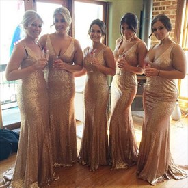 Champagne Sequin Sleeveless V Neck Mermaid Long Bridesmaid Dress
