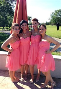 Lovely Knee Length Hot Pink Strapless Ruched Chiffon Bridesmaid Dress