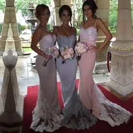 Spaghetti Strap Lace Embellished Floor Length Mermaid Bridesmaid Dress