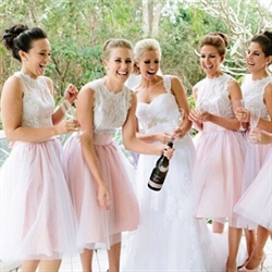 Cute Two Tone Sleeveless Lace Bodice Tulle Tea Length Bridesmaid Dress