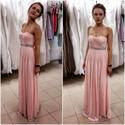 Pink Strapless Ruched Chiffon Long Bridesmaid Dress With Beaded Waist