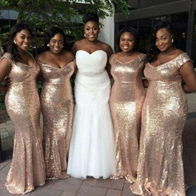 Simple Champagne Floor Length Sequin Sheath Mermaid Bridesmaid Dress