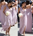 Lavender Chiffon Bridesmaid Dress With One Shoulder And Pleated Bodice
