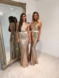 Champagne Cap Sleeve Sequin Mermaid Long Bridesmaid Dress With Belt