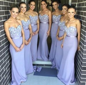 Lavender Strapless Satin Mermaid Bridesmaid Dress With Applique Top