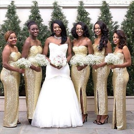 Champagne Strapless Ankle Length Sequin Bridesmaid Dress With Slits