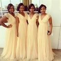 Light Yellow Cap Sleeve V-Neck Floor Length Chiffon Bridesmaid Dress