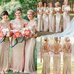 Backless Champagne Short Sleeve Sequin Sheath Long Bridesmaid Dress