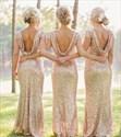 Backless Champagne Short Sleeve Sequin Sheath Long Bridesmaid Dress