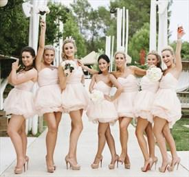 Cute Light Pink Short Strapless Sweetheart Organza Bridesmaid Dress