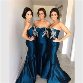 Navy Blue Strapless Mermaid Bridesmaid Dress With Applique Embellished