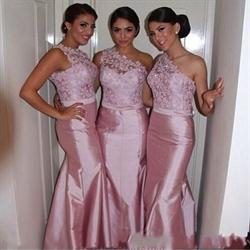 Pink One Shoulder Sleeveless Lace Bodice Mermaid Long Bridesmaid Dress
