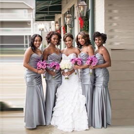 Gray Strapless Sweetheart Mermaid Long Bridesmaid Dress With Ruching