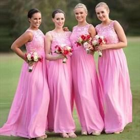 Lovely Floor Length Pink Lace Top Sleeveless Chiffon Bridesmaid Dress