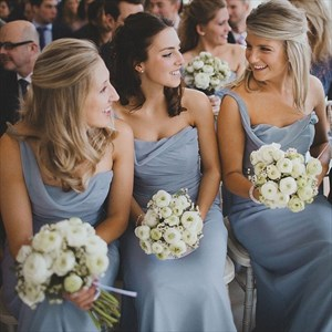 Blue Grey One Shoulder Long Chiffon Bridesmaid Dress With Ruched Top