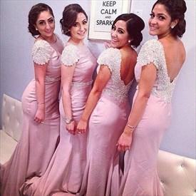 Pink Backless Long Mermaid Bridesmaid Dress With Beaded Cap Sleeves