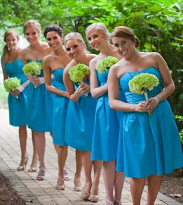 Simple Knee Length Turquoise Strapless Empire Waist Bridesmaid Dress