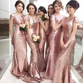 Pink Sequin Short Sleeve Floor-Length Sheath Mermaid Bridesmaid Dress