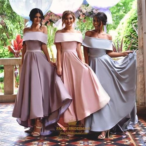 Elegant Off The Shoulder A-Line Floor Length Satin Bridesmaid Dress