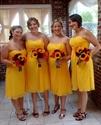 Sunflower Yellow Chiffon Strapless Empire Waist Short Bridesmaid Dress