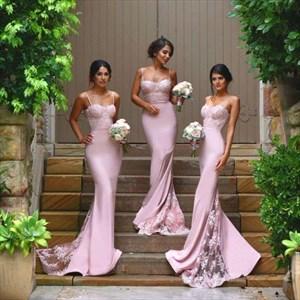 Pink Spaghetti Strap Sheath Mermaid Bridesmaid Dress With Lace Train