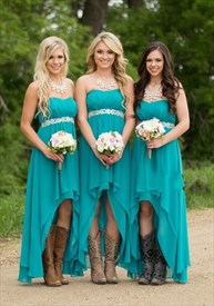 Teal Chiffon High Low Strapless Bridesmaid Gown With Embellished Waist