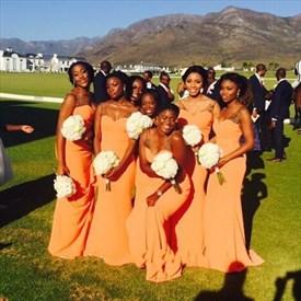 Floor Length Orange Chiffon Sheath Bridesmaid Dress With Beaded Straps