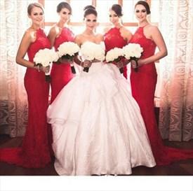 Elegant Red Halter Lace Sheath Mermaid Floor-Length Bridesmaid Dress