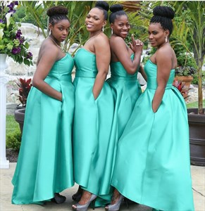 Simple Turquoise Strapless Sweetheart Floor Length Bridesmaid Dress