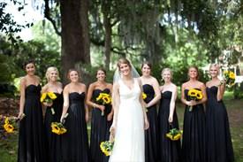 Simple Black Chiffon Strapless A-Line Floor Length Bridesmaid Dress