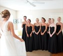 Simple Black Chiffon Strapless A-Line Floor Length Bridesmaid Dress