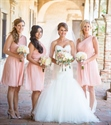 Lovely Pink One Shoulder Ruched Chiffon Knee Length Bridesmaid Dress
