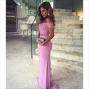 Purple Off The Shoulder Lace Beaded Embellished Mermaid Evening Gown