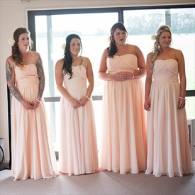 Strapless Sweetheart Long Chiffon Bridesmaid Dress With Ruched Detail